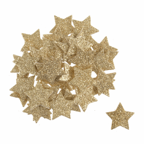 Glitter Foam Stars Gold 60 Pieces